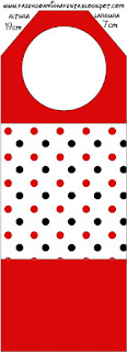 Red Polka Dots in Black and White Free Printable Tags.