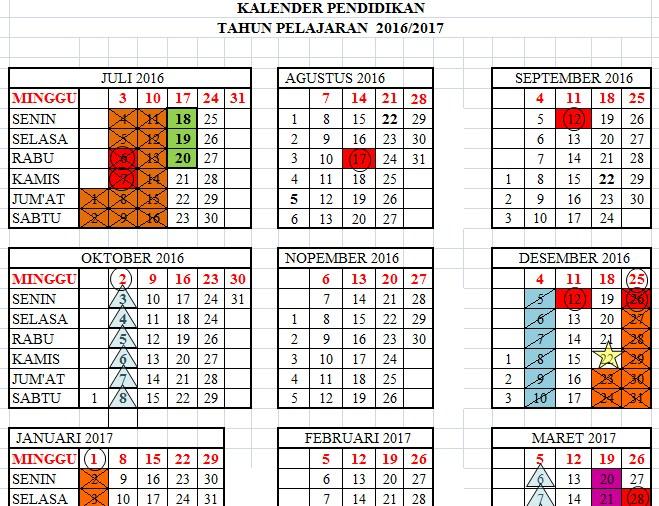 Kalender Pendidikan (Kaldik) Tahun Pelajaran 2016/2017