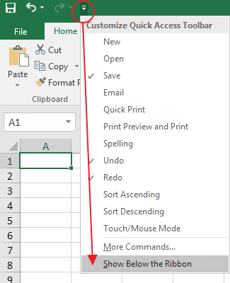 Memindahkan Quick Access Toolbar Excel