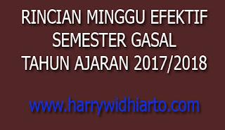 Rincian Minggu Efektif Tahun 2017/2018, Semester Gasal