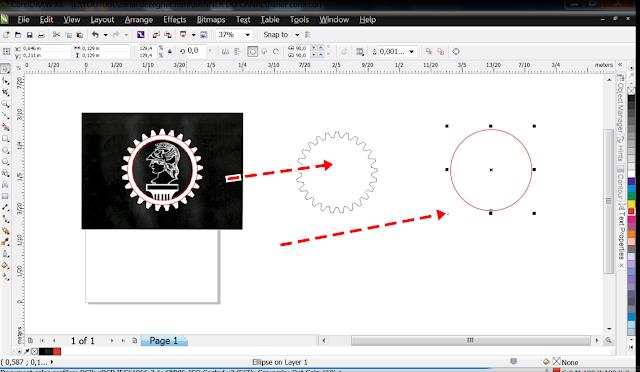 Tire os círculos, deletando-os,  deixando somente o do meio, que é o que vamos usar para fazer o meio preto da engrenagem.