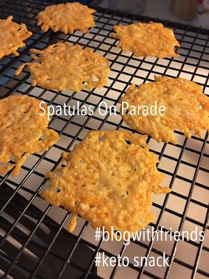 Blog With Friends, multiple projects based on the theme Happiness Happens Day | Parmesan Chips by Dawn of Spatulas on Parade| Presented on www.BakingInATornado