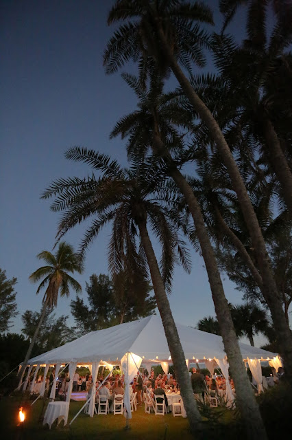 tent wedding casa ybel resort at dusk