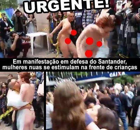 Feministas peladas protestam contra a suspensão da Queermuseu
