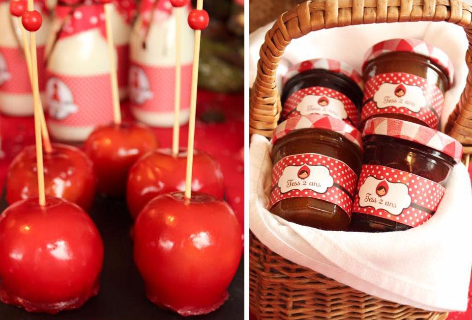 Pommes d'amour et confitures avec etiquettes personnalisées