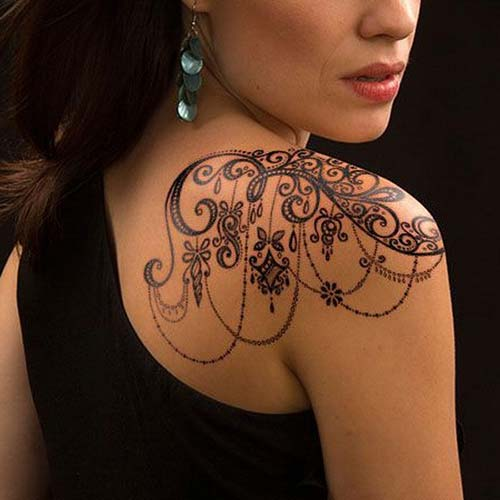 dantel dövmeleri omuz shoulder lace tattoos