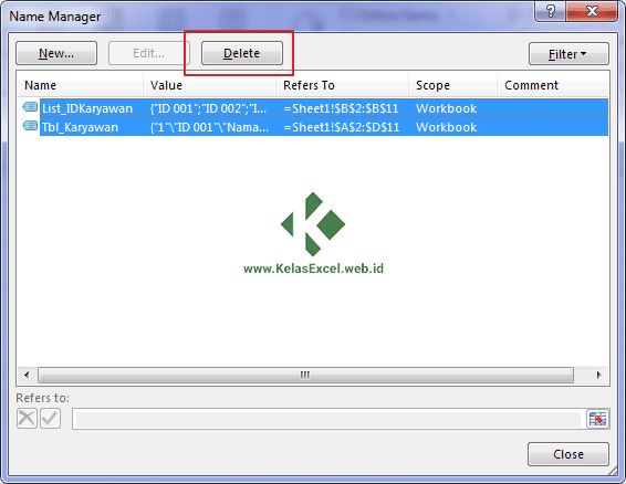 Cara menghapus nama range Excel 2