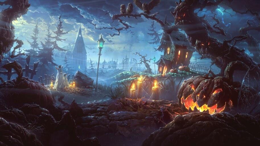 Halloween, Town, Pumpkin, Digital Art, 8K, #4.2049