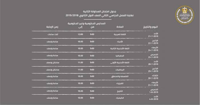 جدول امتحانات الفرصة الثانية للصف الاول الثانوى بعد التعديل