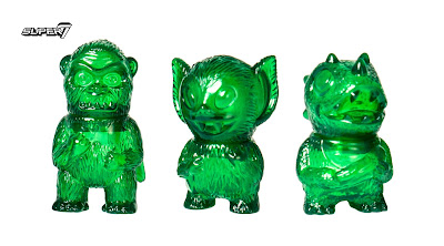 San Diego Comic-Con 2017 Exclusive Translucent Green Micro Wing Kong, Micro Bat Boy & Micro Caveman Dino Vinyl Figures by Super7