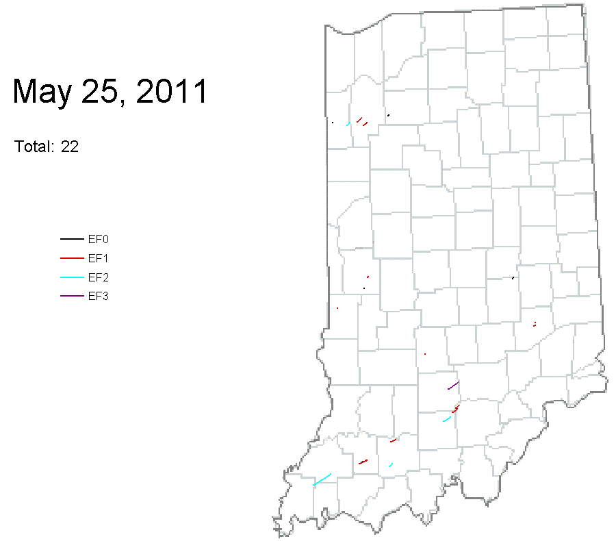 Indiana Tornadoes: Map Of May 25 Tornadoes