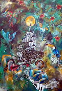 https://www.latelierdannapia.com/ le radici musicali piante tropicali pianista violista violinista tucano pappagallo cavallo luna pianoforte quadro acrilico su tela, onirico poetico surrealista tableau surrealiste onirique musique toucan cheval plantes fleurs tropicales surreal art