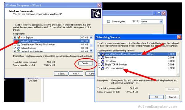 Windows Components Wizard Windows xp