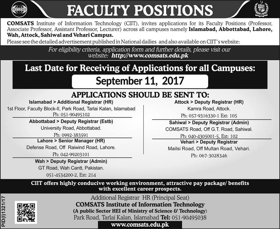 CIIT Jobs In Comsats Institute Of Information Technology Sep 2017