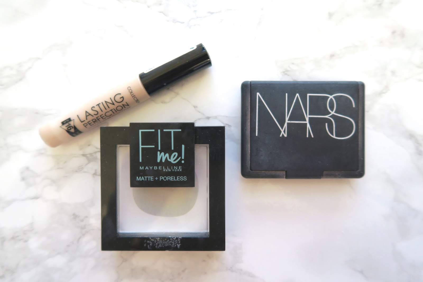 Collection Lasting Perfection concealer, Maybelline Fit Me Matt and Poreless powder and Nars blush in the shade Deep Throat