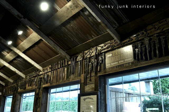 Antique tools and wrenches become a window valance. Welcome to a full blown tour of the inside of Mission Springs Brewing Company, a junk-filled pub and restaurant filled with antiques and salvage architecture you will not believe!