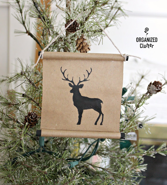 Easy Brown Paper Scroll Ornaments #stencil #rubberstamp #brownpaper #wooddowel #kraftpaper