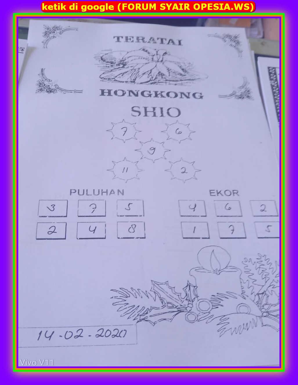 Kode syair Hongkong Jumat 14 Februari 2020 32