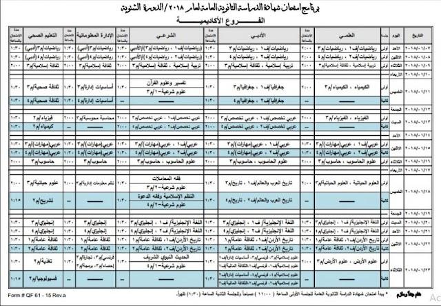 الجداول النهائية لامتحان شتوية التوجيهي للعام 2018 (جداول)