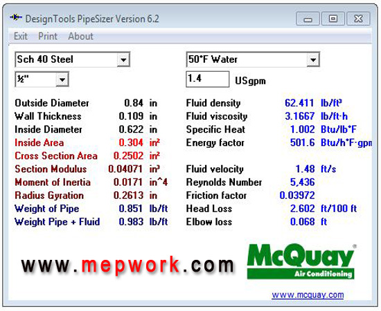 Mcquay Pipesizer With Solved Example Free Download
