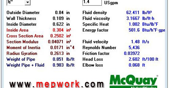 McQuay PipeSizer With Solved Example - Free Download