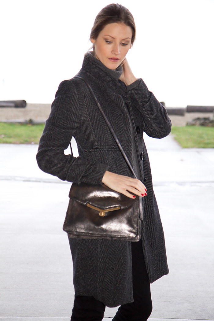 Vancouver Fashion Blogger, Alison Hutchinson, wearing United Colours of Benetton, grey coat, Aritzia grey sweater, Botkier silver leather bag