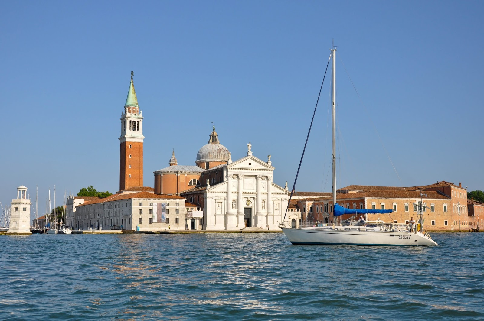 Passing by the island of San Giorgio Maggiore, Regatta of the Ancient Maritime Republics, Venice, Italy