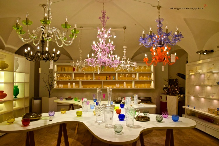 Beautiful glassware in the shop named Material in Old Town Square, Prague | Ms. Toody Goo Shoes #prague #oldtownsquare  #material #danuberivercruise