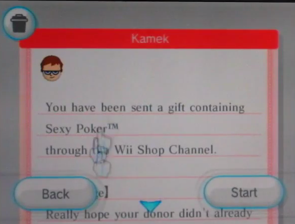 Sexy Poker Wii Shop Channel gift gifting feature messages
