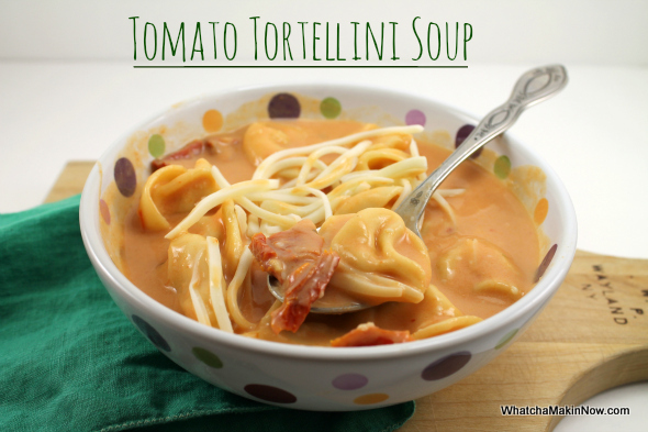 Tomato Tortellini Soup - cheesy noodles and creamy soup.