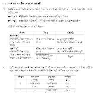 BUET undergraduate admission test marks distribution and Syllabus