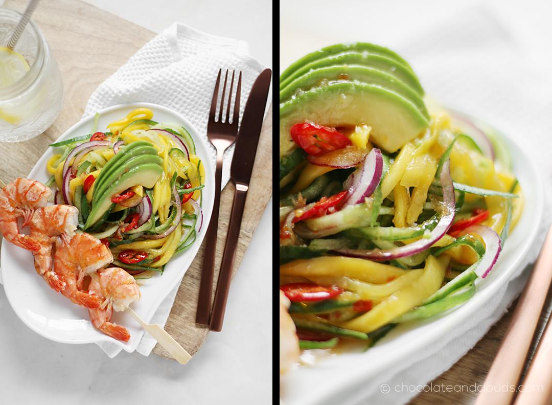 gurken mango salat rezept mit avocado chili garnelen - perfekter sommersalat
