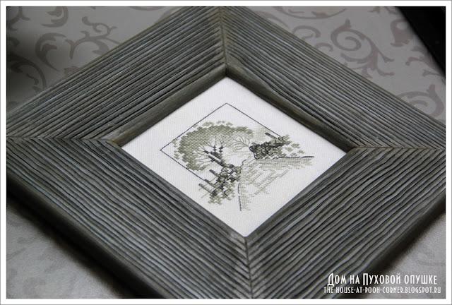 Вышивка миниатюрный монохромный пейзаж 14-6137