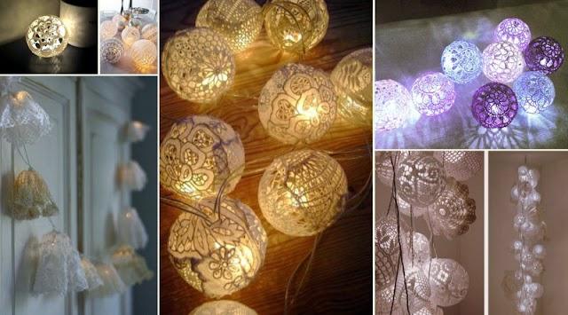 Πως θα φτιάξετε διακοσμητικά Φωτάκια με δαντέλα