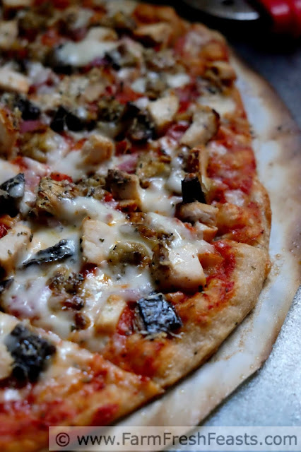 close shot of grilled eggplant and chicken parm pizza