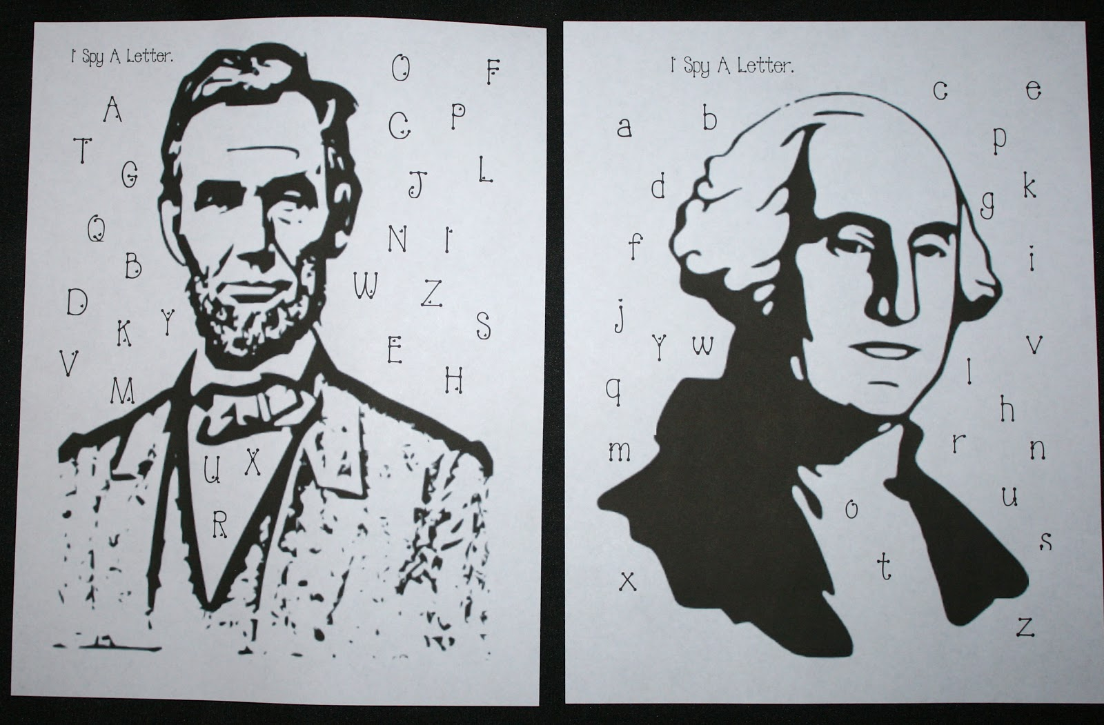 Lincoln And Washington I Spy A Letter Game