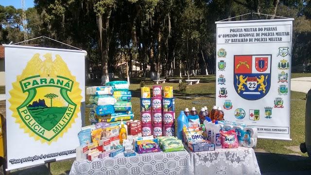Policiais Militares ajudam instituição  com doações de leite e produtos de higienização em Colombo