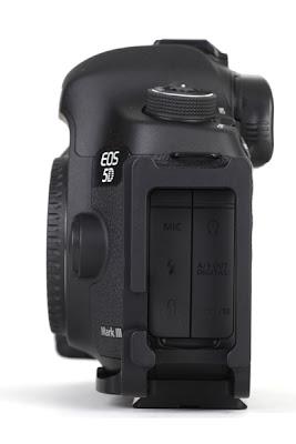 Sunwayfoto PCL-5DIII L Bracket on Canon 5D MK III side view