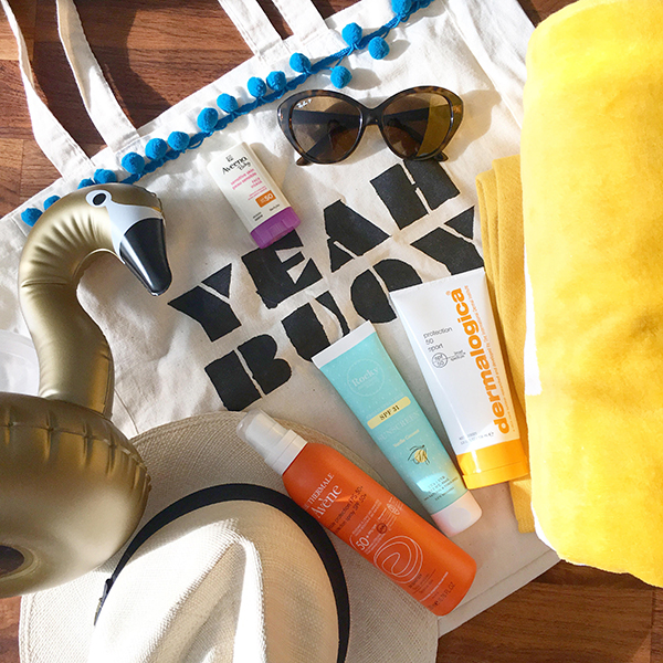 Sunscreen round-up featuring: Aveeno Baby Face sunscreen stick SPF 50, Eau Thermale Avene SPF 50+ spray, Dermalogica SPF 50 Sport, Rocky Mountain Soap Co. SPF 31