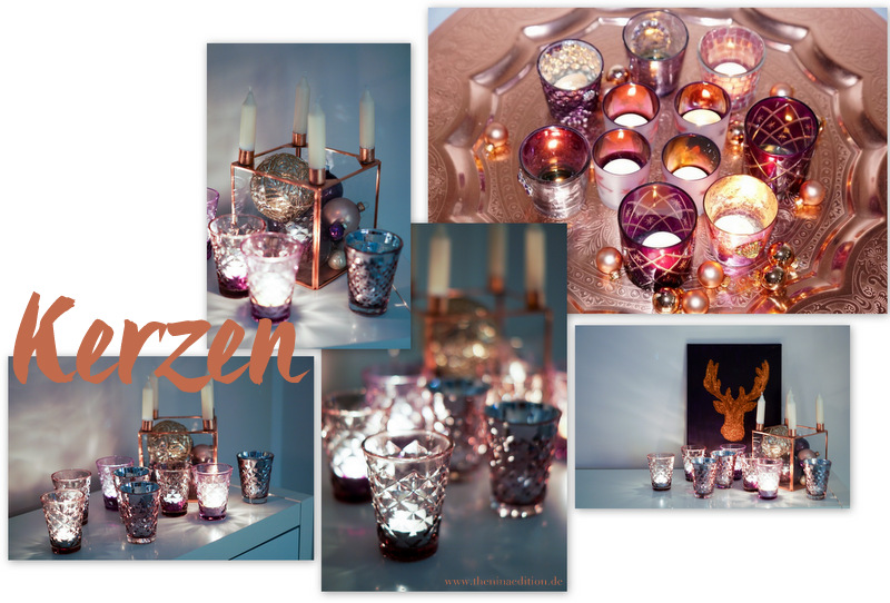 Weihnachtsdekoration mit Kerzen z.B. von Tine K Facettegläsern