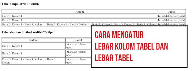 cara mengatur lebar tabel