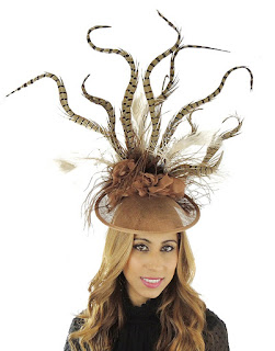 Maafushi Brown Mink & Cream Feather Kentucky Derby Fascinator