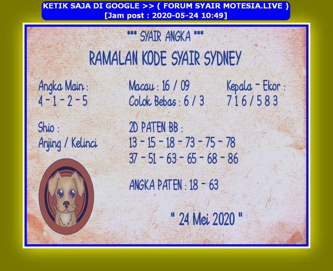 Kode syair Sydney Minggu 24 Mei 2020 151