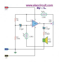 using ic 741 for audible light sensor electronic circuit collection