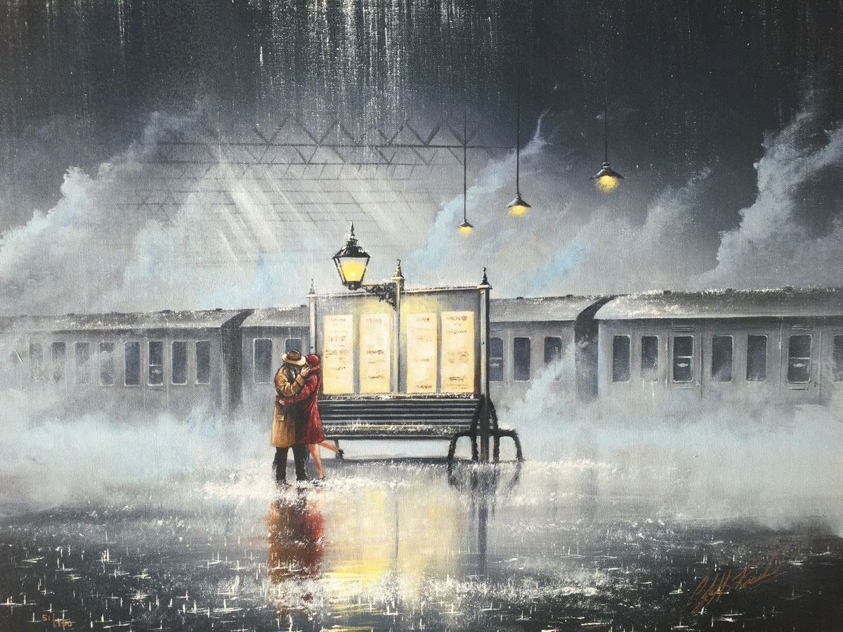 08-The-Last-Train-Home-Jeff-Rowland-Paintings-of-Romantic-Scenes-in-the-Rain-www-designstack-co