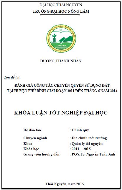 Đánh giá công tác chuyển quyền sử dụng đất tại huyện Phú Bình giai đoạn 2011 đến tháng 6 năm 2014