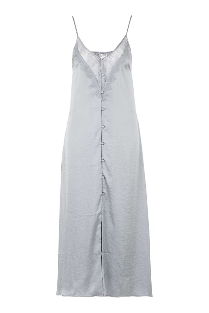 silver slip midi dress, silver button slip dress, button down slip dress,