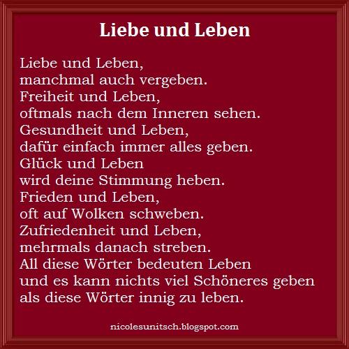 Gedichte Von Nicole Sunitsch Autorin Liebe Und Leben Gedicht