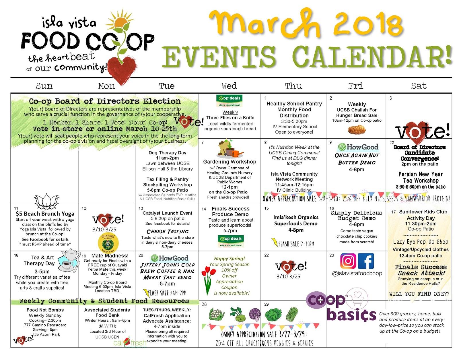 Ucsb Calendar.Isla Vista Food Co Op