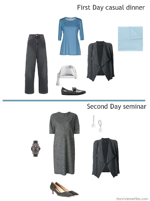 two outfits from a travel capsule wardrobe in grey and shades of blue